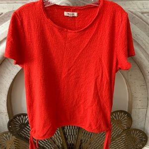 Madewell poppy red T-shirt with side ties